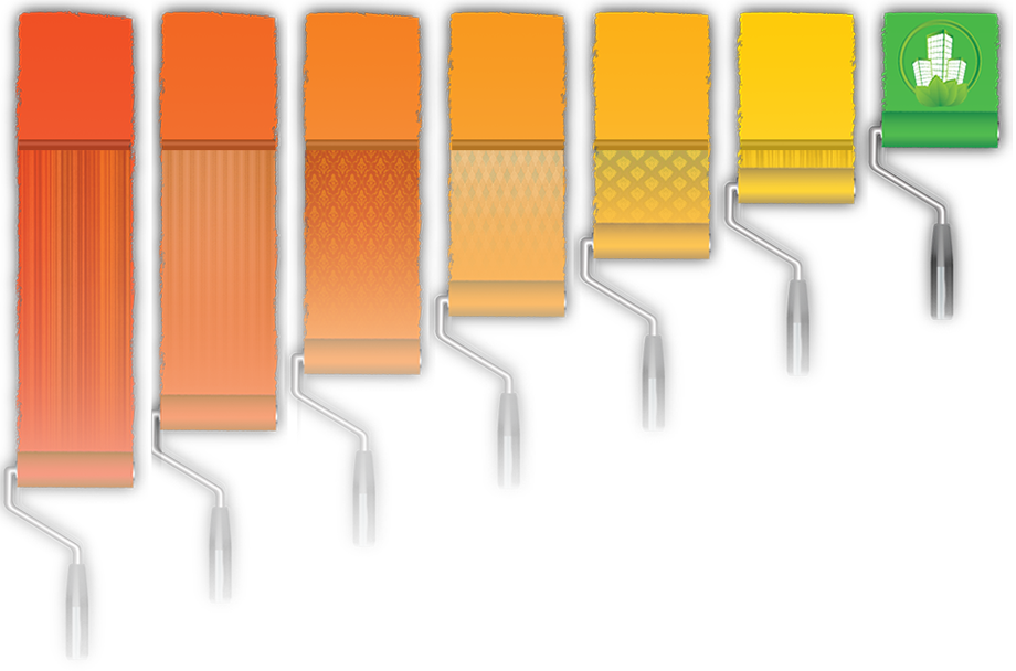 image of paint rollers of different orangeish colors rolling downward, with wallcovering over a portion of them